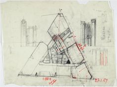 gio ponti, triangular skyscraper plan, 1961 (via Réunion des musées nationaux) Gio Ponti, Triangular Architecture, Triangle House, Hotel Floor Plan, Grand Palais, Concept Architecture, Plan Design, Modernism, Pavilion