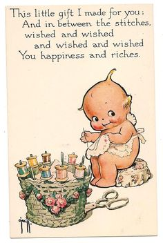 Rose O'Neill (American illustrator, 1874 - 1944) ~ Vintage Kewpie Sewing Postcard...this would be cute to include on the back of a gift quilt