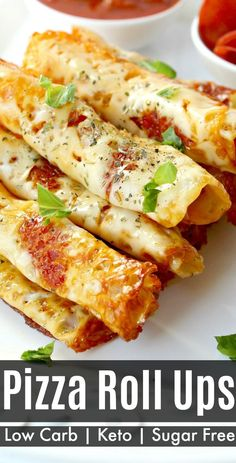Low Carb Pizza Roll Ups - Classic pizza taste rolled up into a on the go snack (or appetizer) that's sugar free and Keto-friendly recipe too!  #pizza #pizzarollups #ketofriendly #lowcarb #Lowcarbdiet #pizzarollups #appetizer #snacks #recipes Bariatric Recipes, Ketogenic Recipes, Diet Recipes, Snack Recipes, Cooking Recipes, Pizza Recipes, Soup Recipes, Diabetic Dinner Recipes, Yummy Healthy Recipes