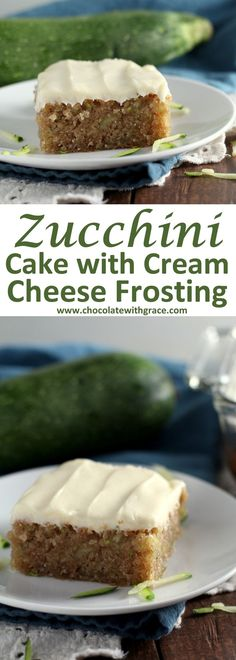 Cream Cheese Frosted Zucchini Cake ~ Soft zucchini cake frosted with a rich, tangy cream cheese frosting!