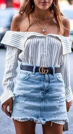 summer outfits Striped Off The Shoulder Shirt + Ripped Denim Skirt