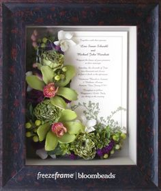 Learn more about Preserving your Bouquet in a Frame!    www.freezeframeit.com