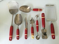 Vintage Red Kitchen Utensils Wood Handles White Stripes Scoops Can Opener