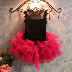 Black & Pink Cotton Net Girl's Top & Tutu Skirt Set