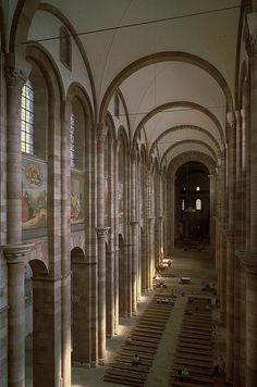 [Unknown, Speyer Cathedral, Begun 1030, nave vaults, Romanesque] (Kleiner 446) This is the Speyer Cathedral, which is also known as the Imperial Cathedral Basilica of the Assumption and St Stephen. It was the largest building in the Christian world during the 11th century. It is located in Speyer, Germany and construction started in 1030.