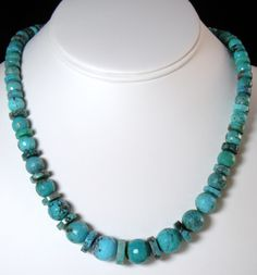 Jay King Hubei Turquoise Faceted Graduated Bead Necklace with Sterling Silver from the Jay King Mine Finds collection.