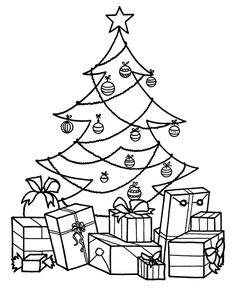Christmas Tree With Presents Coloring Pages | quotes.