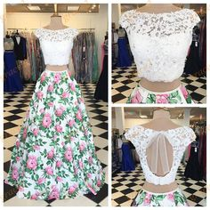 Floral Ball Gown Prom Dresses with Cap Sleeves and White Lace Top Real-Photos Print Petal Power Quinceanera Dress Keyhole Back Dresses For Teens Wedding, Trendy Dresses, Cute Dresses, Fashion Dresses, Prom Dresses, Formal Dresses, Quinceanera Dresses, Dress Wedding, Dress Prom