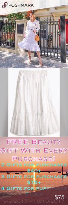 J.Crew Clip-Dot Skirt White skirt by j.crew. Worn 3 times- brand new condition.   ✔️Shipped ASAP  ✔️Surprise present included  ✔️Bundles ❌Trades J. Crew Skirts Midi