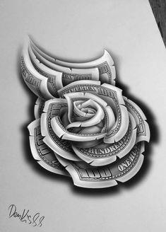 Clock Tattoo Design, Floral Tattoo Design, Tattoo Design Drawings, Flower Tattoo Designs, Chicano Tattoos Sleeve, Chicano Style Tattoo, Money Rose Tattoo, Dollar Tattoo, Hand Tattoos