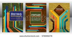 Abstract retro cover design with arrows elements. Abstract vintage progress concept flyer. Brochure template layout, cover design of annual report. Vector eps 10