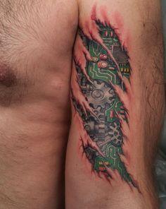 steampunk ankle tattoo for men | Tatuajes en 3D