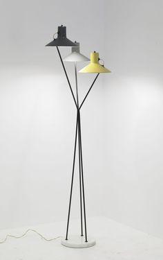 brass and aluminium floor lamp in black , white and yellow . minimal design | lighting . Beleuchtung . luminaires | Design: Gino Sarfatti |