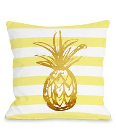 This Tropical Stripe Pineapple Throw Pillow is perfect! #zulilyfinds