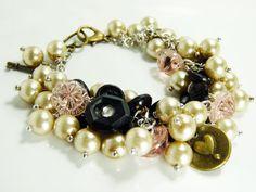 Vintage Button Bracelet Glass Pearl Bracelet Brass by ksyardbird