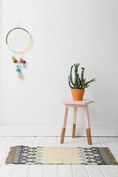 pentagon pink dipped side table