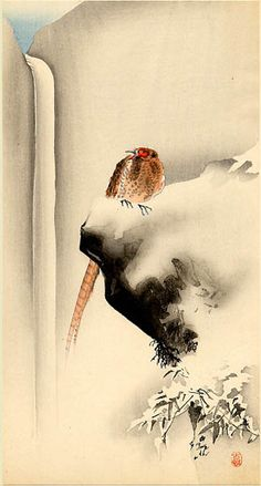 Copper Pheasant in Snow by Ohara Koson