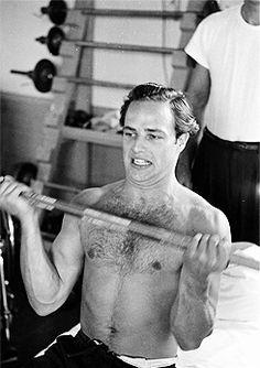 Marlon Brando, on set of The Men. Photographed by Edward Clark. (1949)
