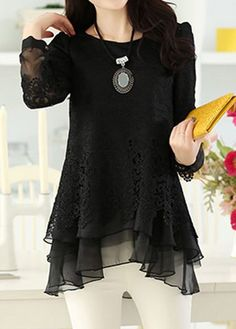 Layered Long Sleeve Lace Panel Black Blouse on sale only US$31.11 now, buy cheap Layered Long Sleeve Lace Panel Black Blouse at liligal.com