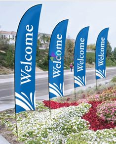 Pack of 3 Massage SPA Welcome King Swooper Feather Flag Sign Kit with Pole and Ground Spike
