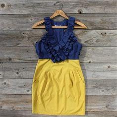 diy tee shirt dress   bridal party / Navy + yellow ruffled dress- snow white?