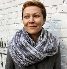 Light grey knit infinity scarf/Long knit infinity scarf/Long