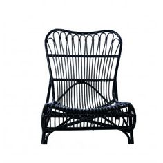 Black Rattan Lounge Chair by House Doctor DK