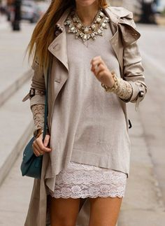 Soft neutrals, lace skirt + light knit sweater + statement necklace / Date night out