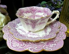 Lavender tea cup, saucer, and dessert plate