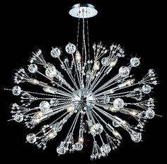 C121-3400D36C/EC By Elegant Lighting Cyclone Collection 24 Light Chandeliers Chrome Finish