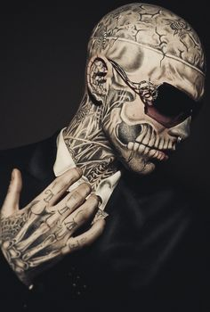 Rick Genest, aka Zombie boy, #tattooed by Frank Lewis, photography Max Twain.
