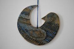 Handmade ceramic bird tile