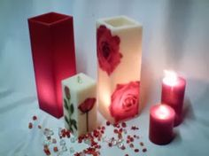 The use of candles for light and heat is known to have existed in ancient times. The remains of candles have been found in the caves of France. Cute Candles, Beautiful Candles, Best Candles, Diy Candles, Pillar Candles, Marble Candle, Candle Art, Candle Lanterns, Decoupage