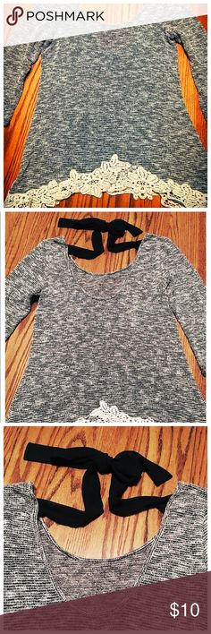 Moa Moa Crochet Tie Top Moa Moa Top with Crochet around the bottom, black sheer ribbon ties behind your back, Very Comfortable, 3/4 Sleeve, black and white, Womens Size Medium Moa Moa Tops Tunics
