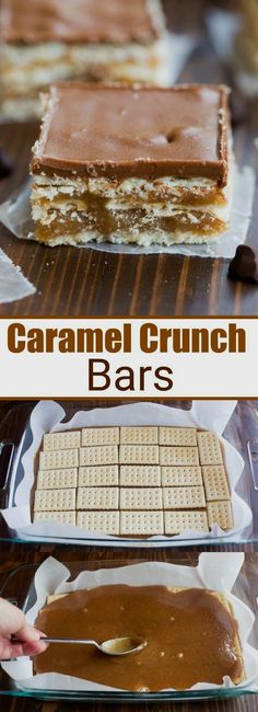 These Caramel Crunch Bars, with layer upon layer of delicious sweet, salty, caramel goodness, are one of my favorite easy no-bake desserts! # no bake Desserts Caramel Crunch Bars Candy Recipes, Baking Recipes, Sweet Recipes, Cookie Recipes, Dessert Recipes, Allrecipes Desserts, Bar Recipes, Salad Recipes, 13 Desserts