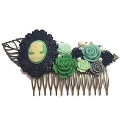 Green Lady Comb-Wedding Fascinator-Fashion Hair Comb-Floral
