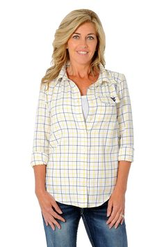 1a2bbfe5669 Celebrate March Madness with our UG Sale! West Virginia University Women s  Plaid Shirt - University Girls Apparel