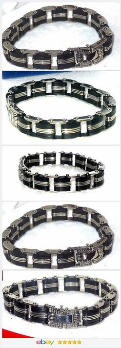 Stainless Steel and  Rubber Bracelet Gents  Men's   8.5 inches USA SELLER  | eBay  50% OFF #ebay http://stores.ebay.com/JEWELRY-AND-GIFTS-BY-ALICE-AND-ANN
