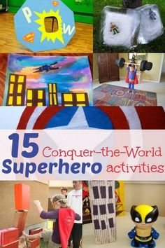 15 superhero activities for the kids to feel like they can conquer the world! It's time for some superhero fun! 15 superhero activities for kids to feel like they can conquer the world! Superhero Classroom, Superhero Birthday Party, Superhero Games For Kids, Superhero Ideas, Superhero Party Activities, Batman Games, Super Hero Day, Super Hero Theme, Camping Theme