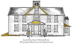 La casa de Louisa May Alcott's, 399 Lexington Road, Concord, Massachusetts, ilustrada por Brain Pickings.