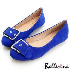 Ballerina-牛麂皮金屬釦環皮帶豆豆鞋-藍