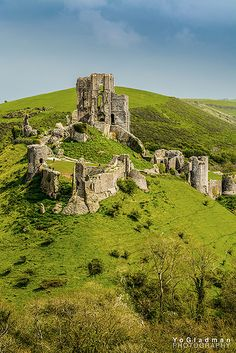 Corfe Castle in Dorset...I painted nearly this same scene in 1974, although my version had more storm clouds in it!