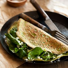Thin Green Spinach and Herb Omelettes | Flourless Crêpes