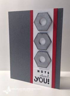 Stampin' Up! ... handmade Valentine/love card: Nuts About You ...  Really Good Greetings, Maggie Mata ... masculine look in grays and white with red mat lines ... hexagon nuts punched with hexagon and circle punches ... great card!