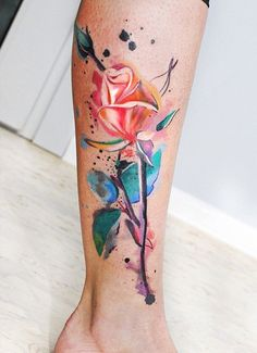 Watercolor rose leg tattoo for women - 100+ Meaningful Rose Tattoo Designs  <3 <3