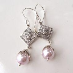 Pale Lilac Flower Drop Earrings  Silver and by PETALTOMETALJEWELS, $22.00