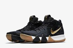 "501df2bbbaf9 Stomper on Instagram  ""Kyrie 4 in Black Metallic Gold  stomperkicks  kicks   sneakers  kyrie  kickstagram  fashion  sneakershouts"""