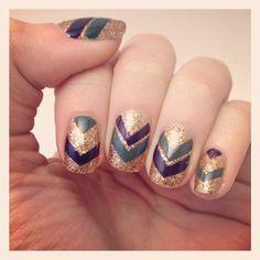 Gold chevron nails