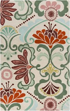 Lovely flower print rug in bright colors from the Alhambra Collection by Surya. (ALH-5018)