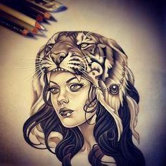 Explorez Tattoo Ideas American Tattoos et plus encore ! Head Tattoos, Sleeve Tattoos, Tatoos, Tattoo Sketches, Tattoo Drawings, Tiger Tattoodesign, Rite De Passage, Rik Lee, Headdress Tattoo
